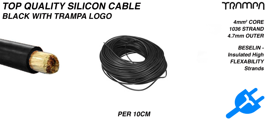 BLACK Silicon Cable with WHITE TRAMPA logo