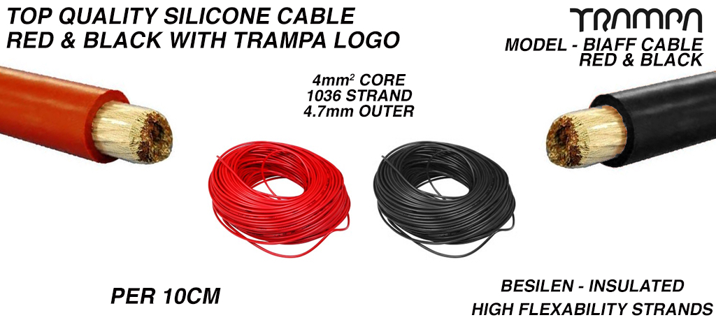 RED & BLACK Silicone Cable with Black TRAMPA Logo 4.0mm core Top Quality BIAFF electrical Cable - per 10cm