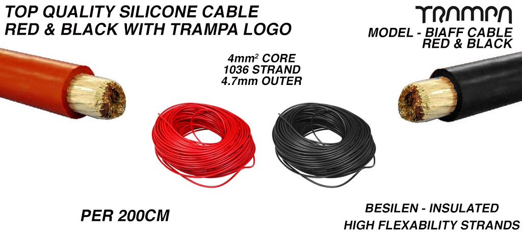 200cm of highly flexible 24 AWG Top Quality RED & BLACK Silicone cable