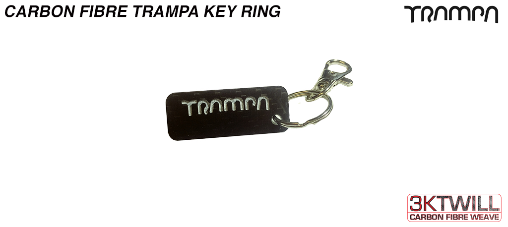 Carbon Fiber TRAMPA Keyfob with Stainless Steel Ring & Quick release Carabine