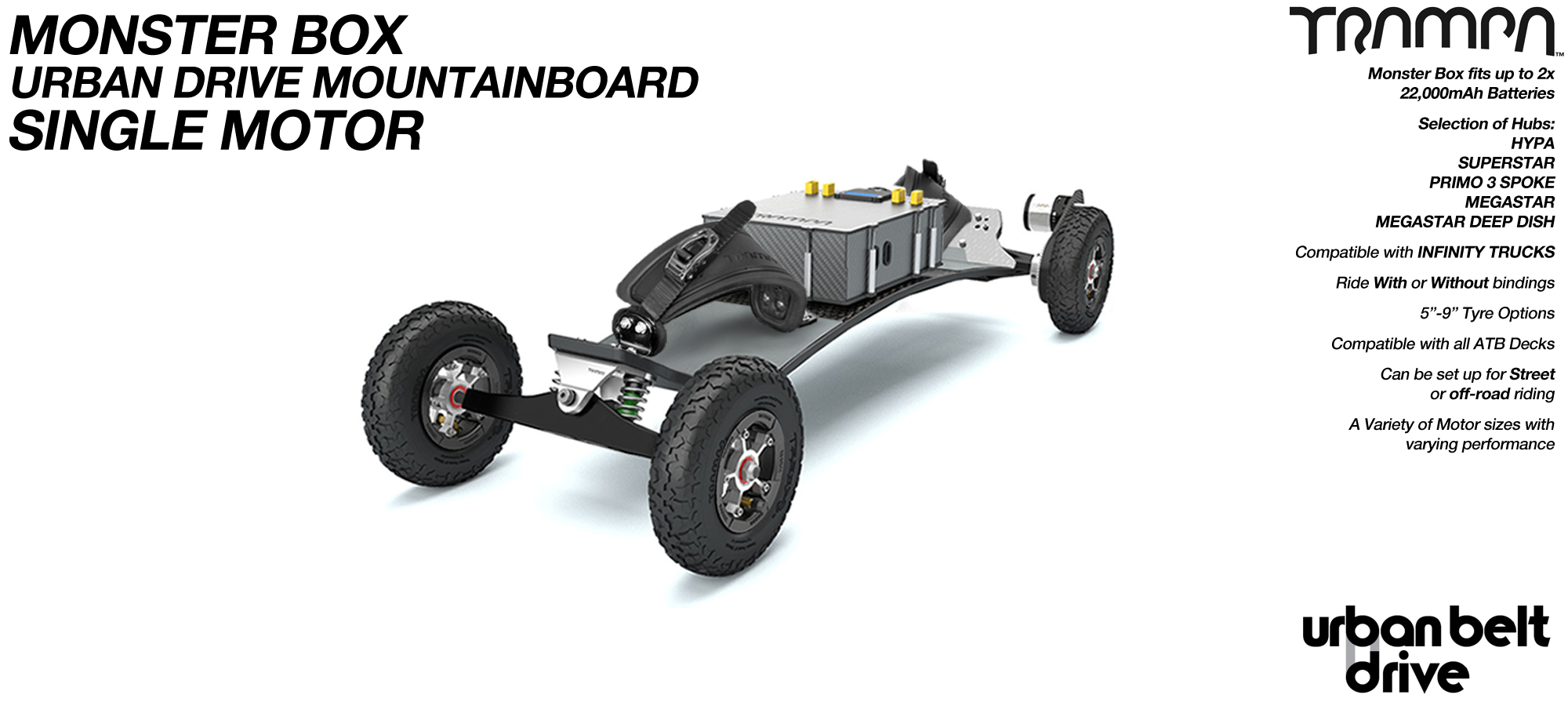 URBAN Electric Mountainboard - Single Motor Urban Motor Mounts, ATB Trucks, 8 inch Wheels, MONSTER Box inc VESC