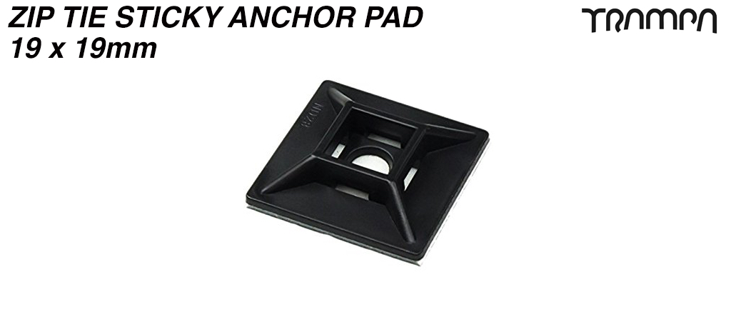 Zip Tie Sticky Anchor Pad for tidying your cables 19 x 19mm - fits