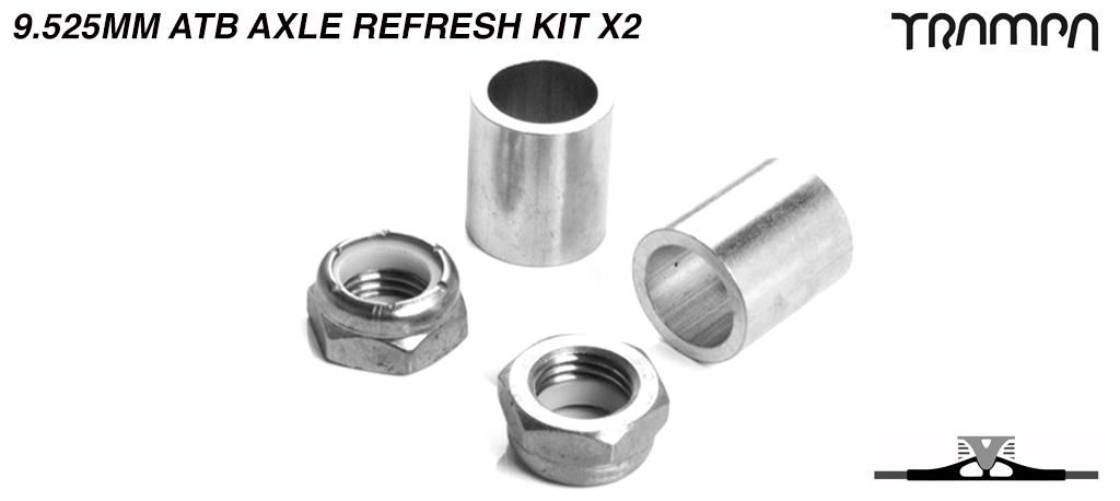 9.525mm ATB Axle re-fresh kit - 2x 3/8ths Stainless Steel Half nut with Nylock & 2x 9.525mm Wheel support spacer