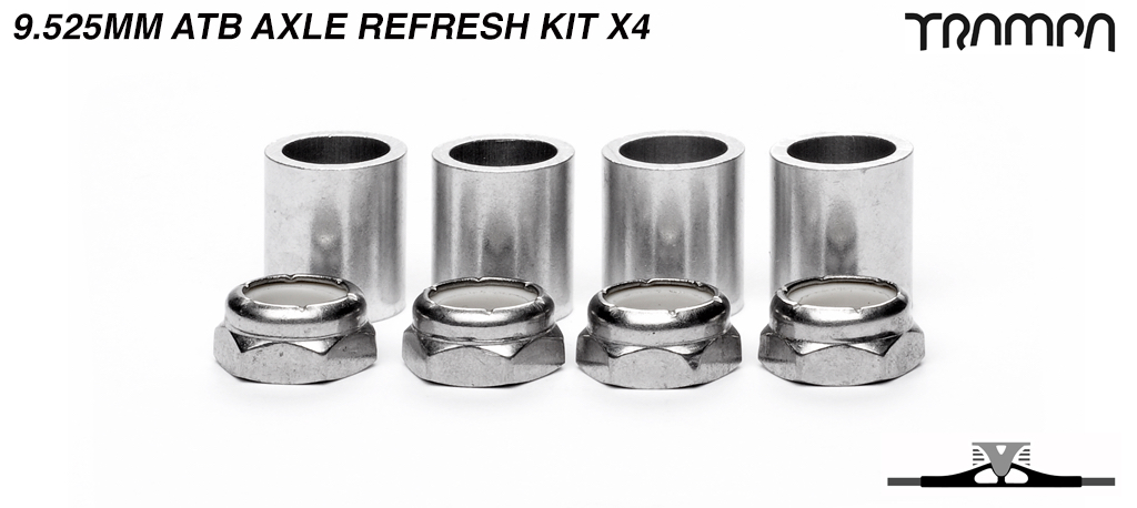 9.525mm ATB Axle re-fresh kit - 4x 3/8ths Stainless Steel Half nut with Nylock & 4x 9.525mm Wheel support spacer