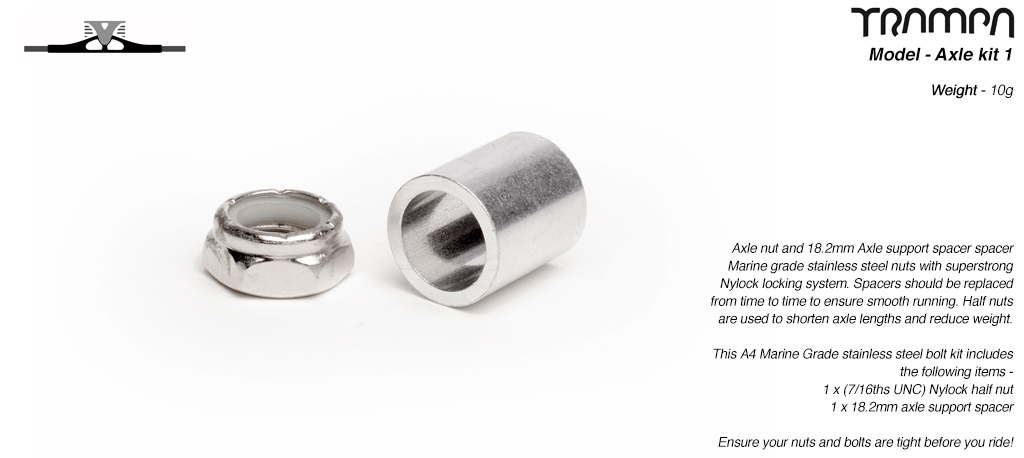 12mm ATB Axle re-fresh kit - 1x 7/16ths Stainless Steel Half nut with Nylock & 1x 12mm Wheel support spacer