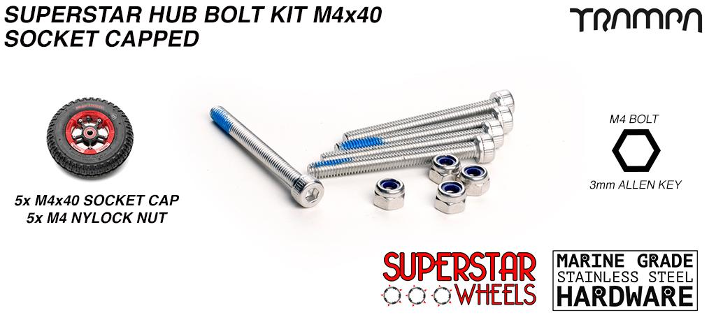 M4 x 40mm Marine Grade Stainless Steel Socket Capped Superstar Hub Bolt kit