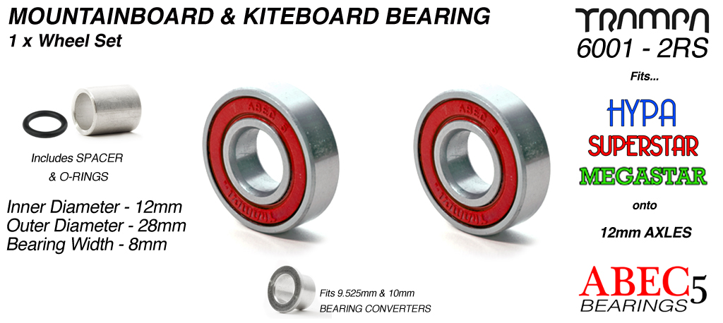 12mm Bearings - 12mm x 28mm axle ABEC 5 rated RED Rubber Sealed Sidewalls x1 Wheel