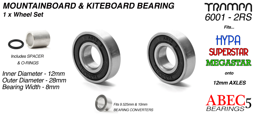 12mm Bearings - 12mm x 28mm axle ABEC 5 rated BLACK Rubber Sealed Sidewalls x1 Wheel
