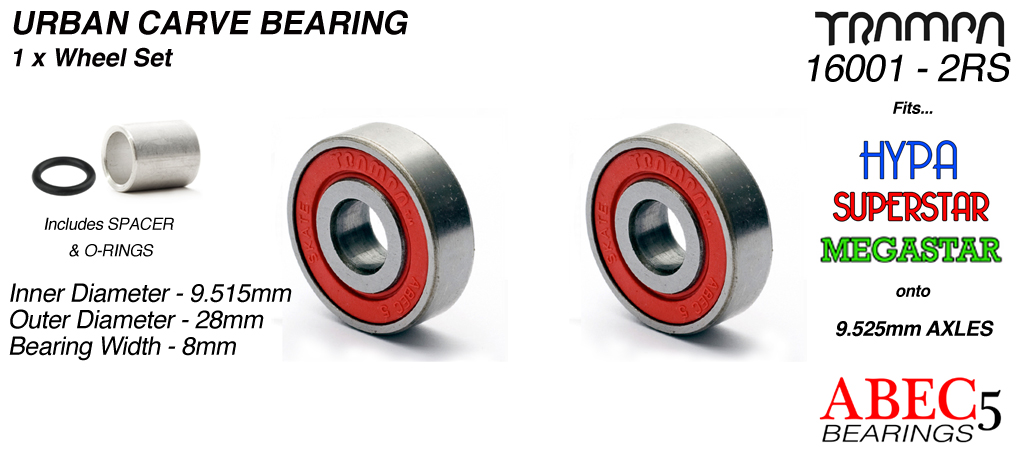 9.525mm Bearings - 9.525mm x 28mm axle ABEC 5 rated RED Rubber Sealed Sidewalls 1x Wheel