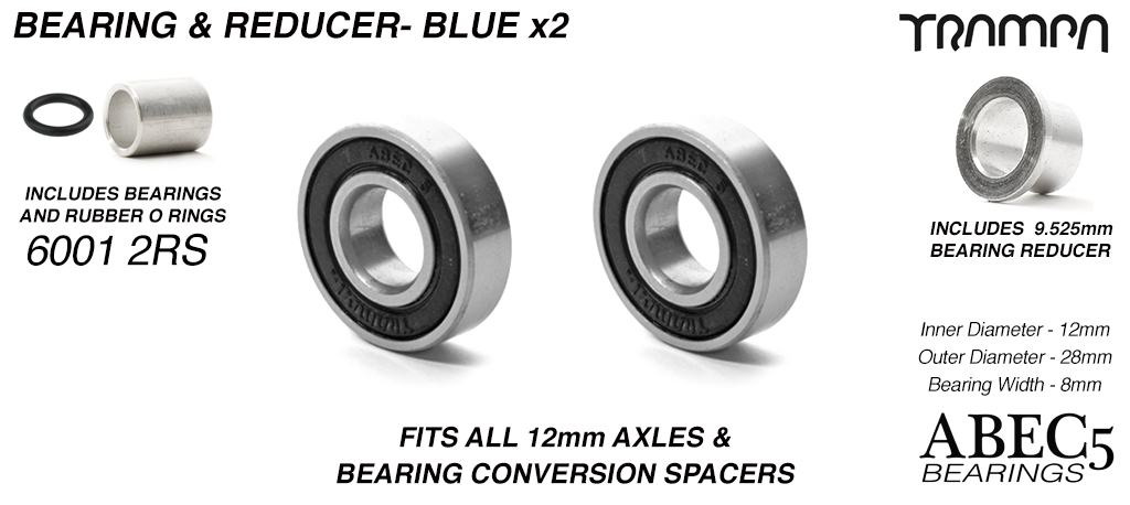 12mm Bearings & 9.525mm Reducers - 12mm x 28mm axle ABEC 5 rated BLACK Rubber Sealed Sidewalls x1 Wheel