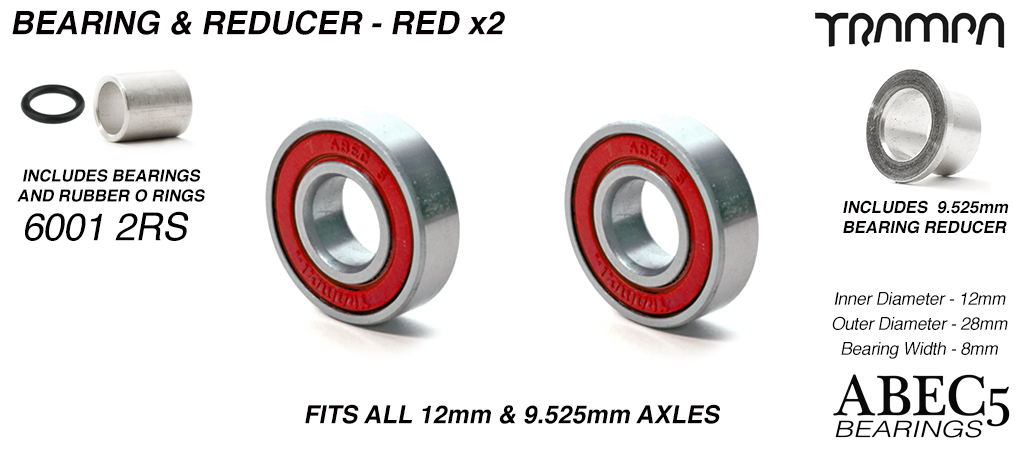 12mm Bearings & 9.525mm Reducers - 12mm x 28mm axle ABEC 5 rated RED Rubber Sealed Sidewalls1x wheel