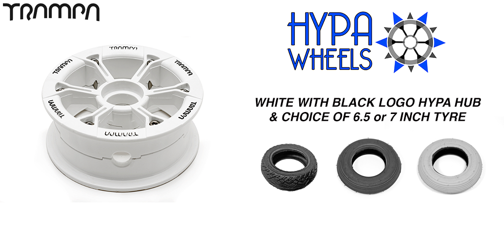 Gloss White with Black Logos Hypa hub & Custom 7 Inch Tyre