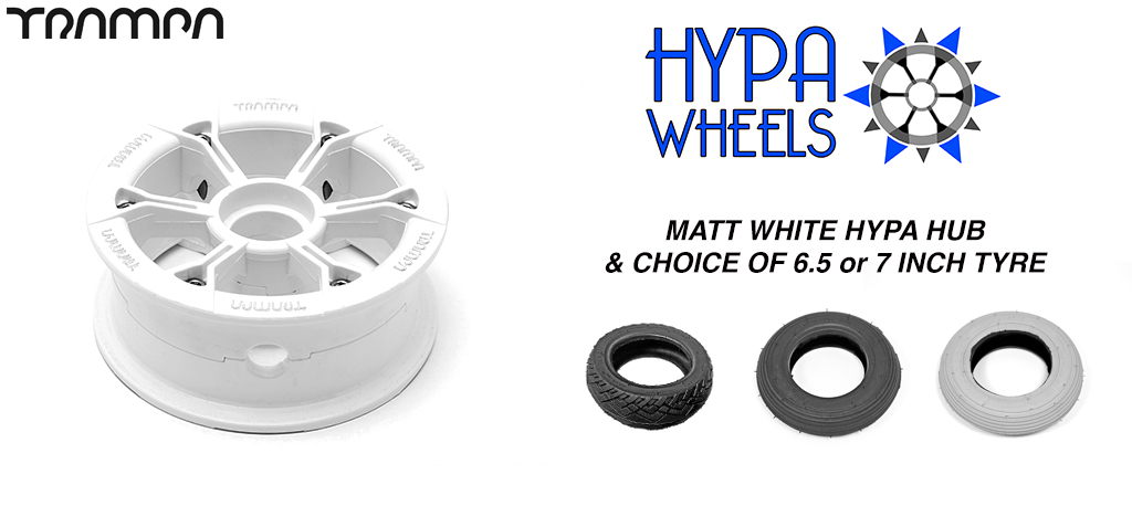 Matt WHITE Hypa hub & Custom 7 inch Tyre