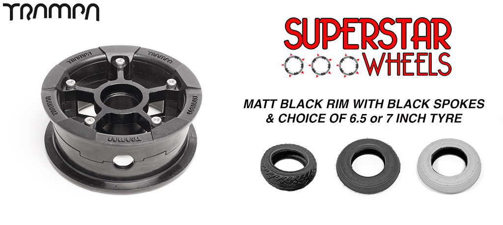 Superstar 7 Inch Wheels - Matt BLACK Rim BLACK spoke Custom Tyre 7 Inch Wheel