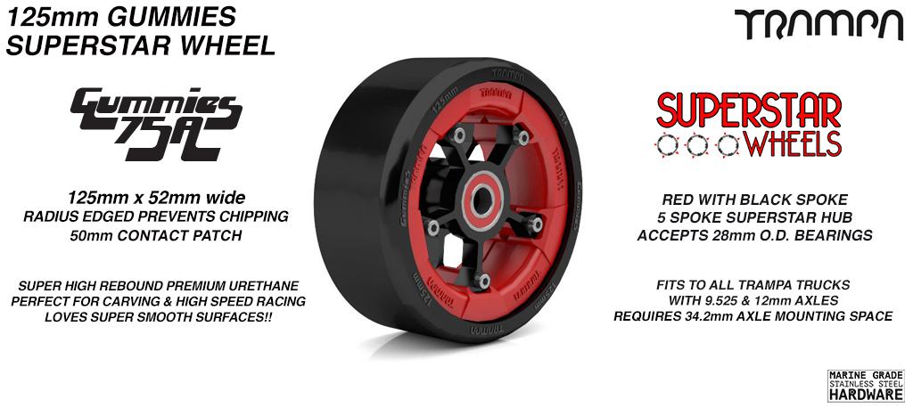 Superstar 125mm Longboard Wheels - GLOSS RED with Black logo Superstar Rim with Black Spokes & BLACK Gummies 125mm Longboard Wheel Tyre