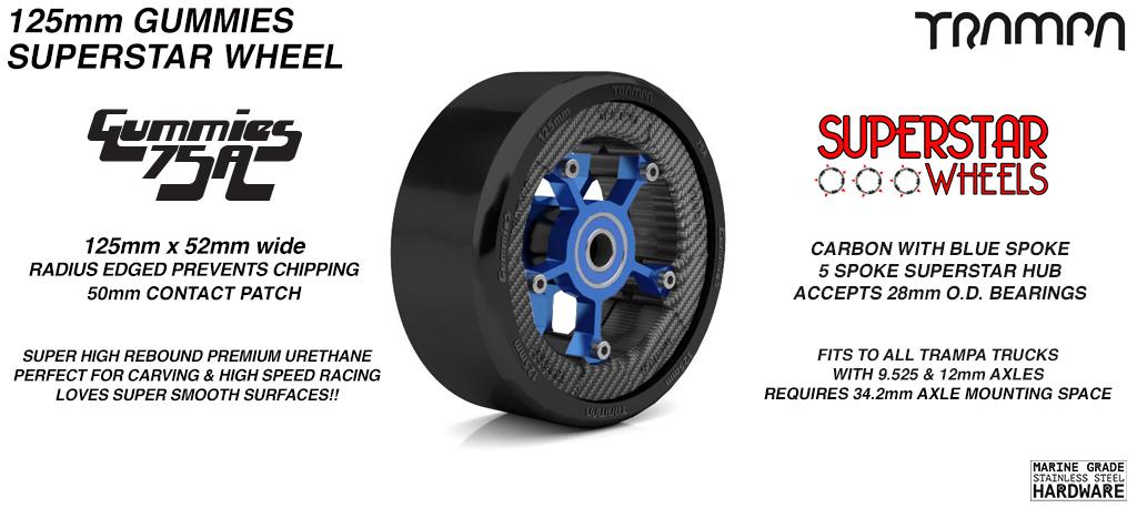 Superstar 125mm Longboard Wheels - CARBON print Superstar Rim with BLUE Spokes & BLACK Gummies 125mm Longboard Wheel Tyre