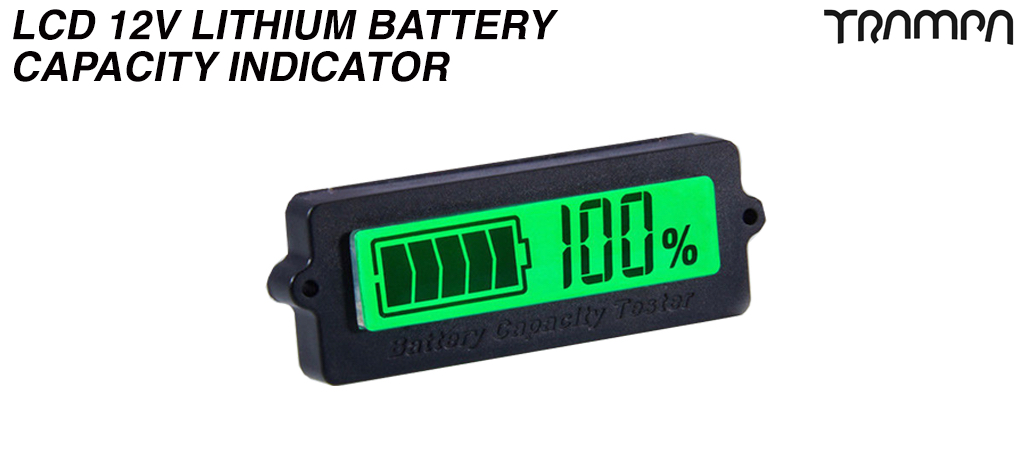 LCD 12V Lithium Battery Capacity Indicator - GREEN Screen