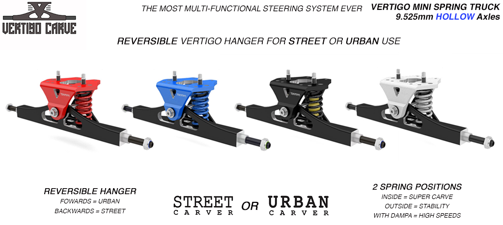 Mini VERTIGO TRAMPA TRUCKS - CNC FORGED Channel Hanger with 9.525mm HOLLOW Steel Axle CNC Baseplate Stainless Steel Kingpin