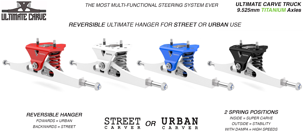Mini ULTIMATE TRAMPA TRUCKS - CNC FORGED Channel Hanger with 9.525mm TITANIUM Axle CNC Baseplate TITANIUM Kingpin