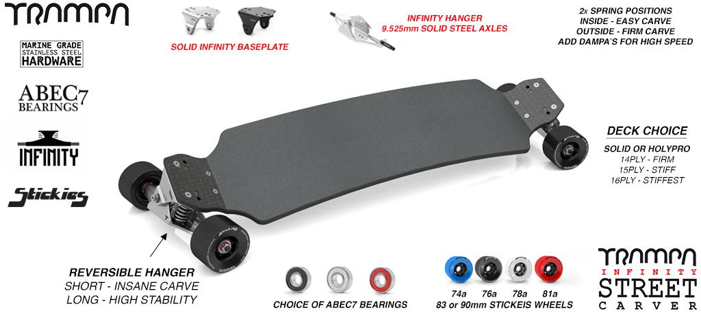 INFINITY STREET Carveboard - 9.525mm SOLID Axle INFINITY Trucks with Custom STICKIES longboard wheels