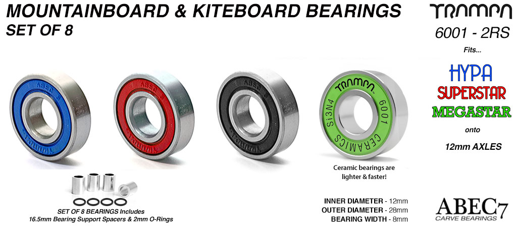 12mm Axle ABEC 7 Rated Mountainboard Bearings for HYPA or SUPERSTAR Wheels