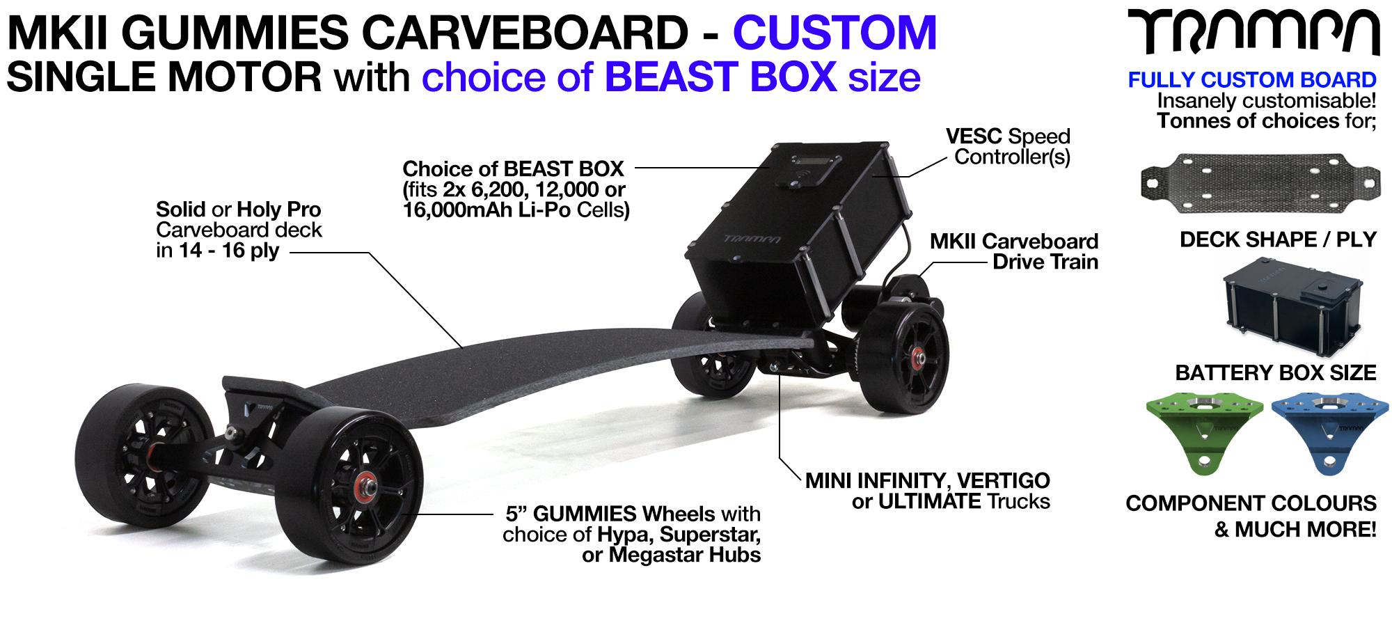 TRAMPA's MkII Electric GUMMIES Carveboard - uses Mini Spring Trucks with MkII Carve board Motor Mount,s Custom TRAMPA hubs & 125mm GUMMIES longboard Tyres - SINGLE Motor CUSTOM
