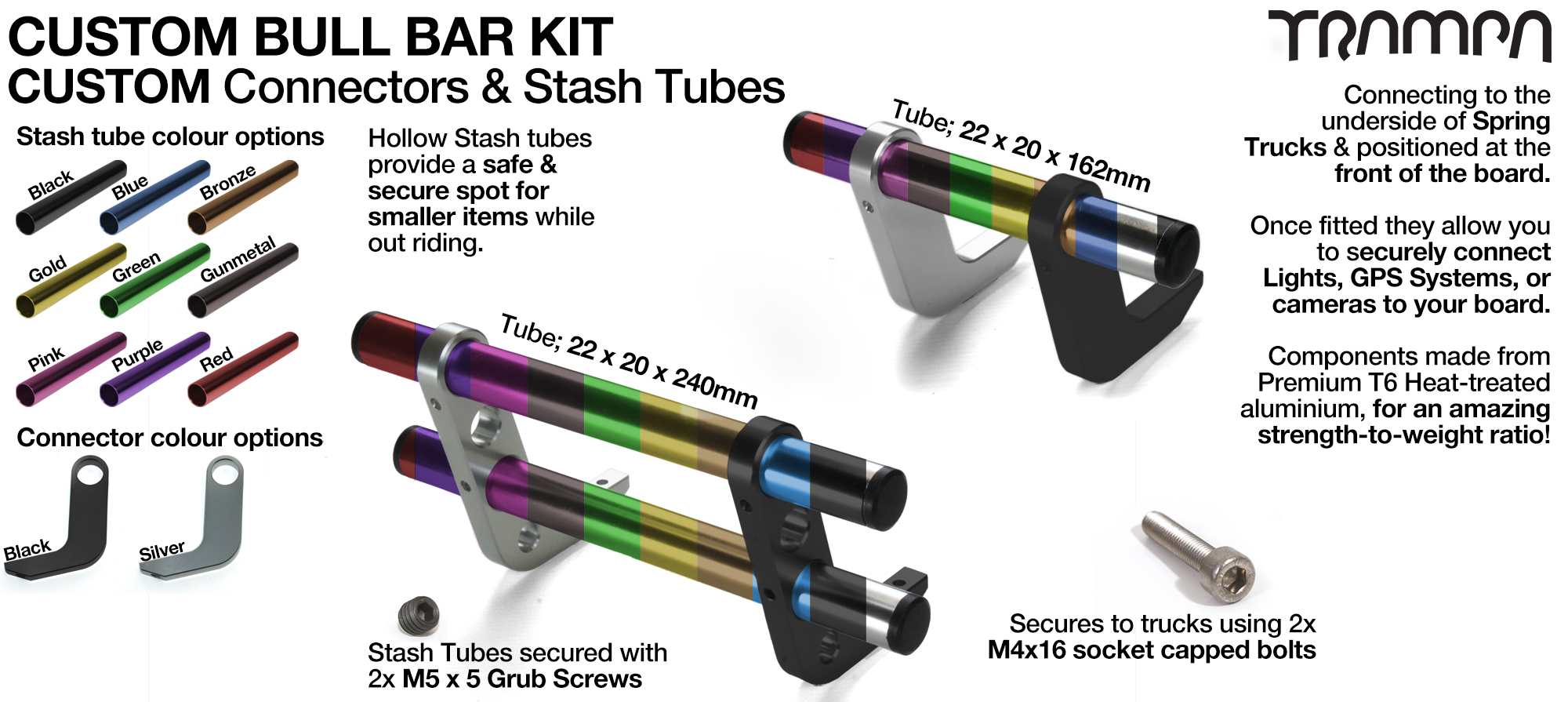 BULL BARS for MOUNTAINBOARDS using T6 Heat Treated CNC'd Aluminum Clamps, Hollow Aluminium Stash Tubes with Rubber end bungs