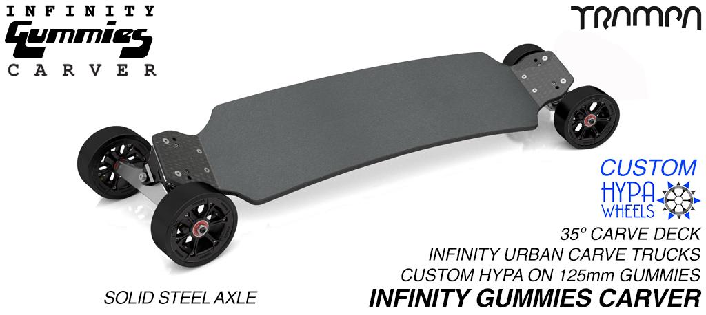 INFINITY Carveboard SOLID Axle INFINITY Trucks with Custom TRAMPA hub & 125mm GUMMIES longboard Tyres