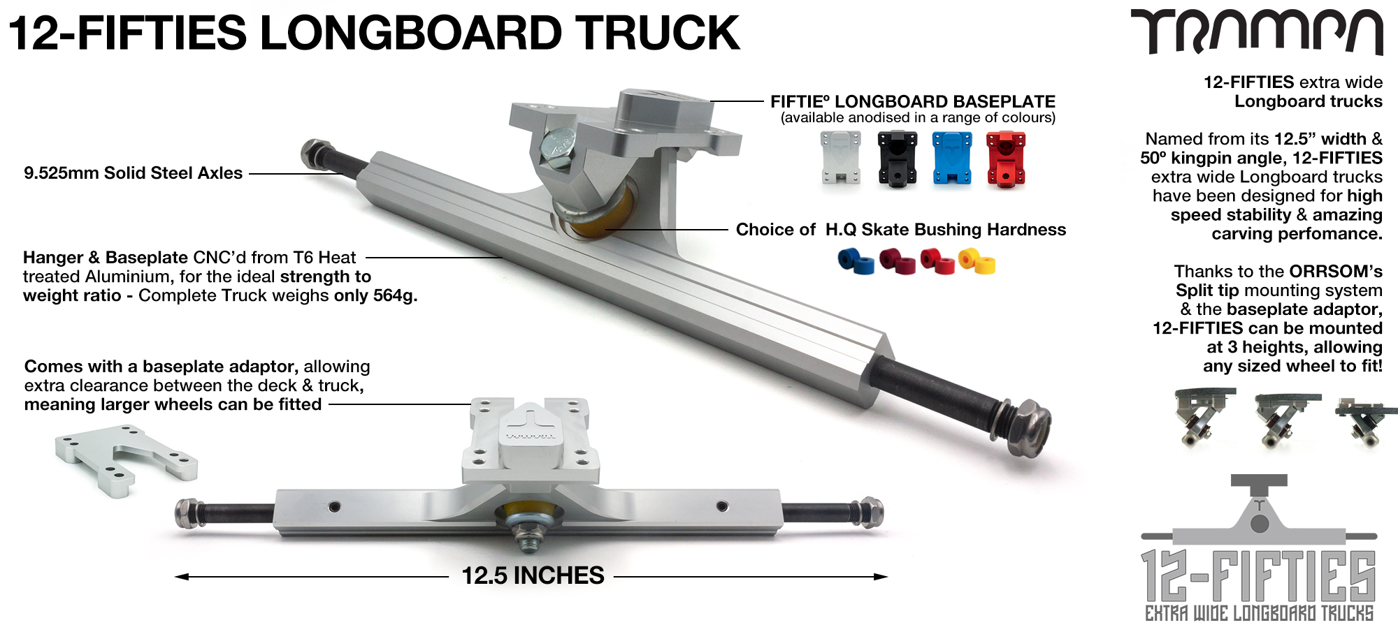 12Fifties - CNC Precision made Extra Wide All Terrain Longboard Truck