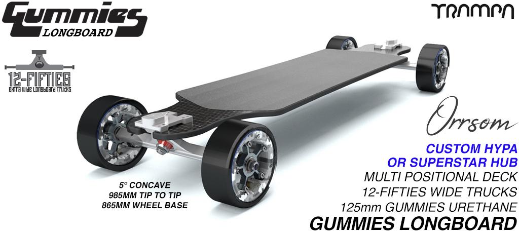 TRAMPA's Orrsum Longboard with GUMMIES Longboard wheels