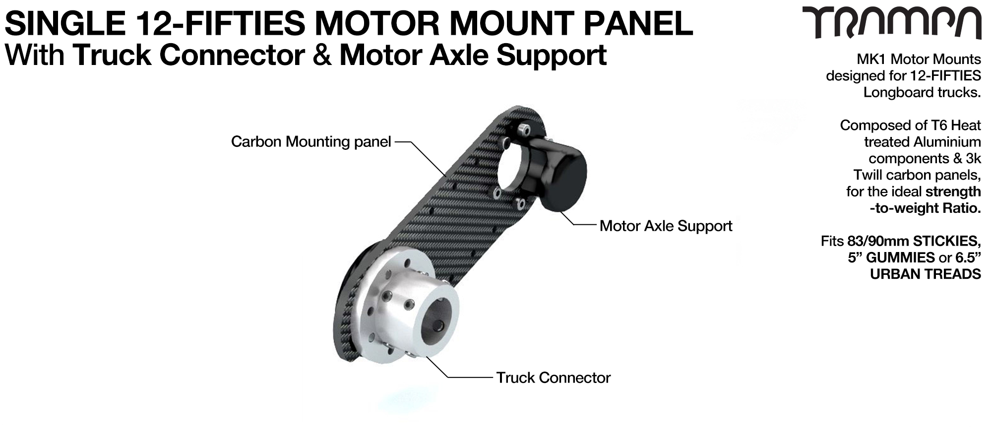 12Fifties Extra wide Longboard truck Motor Mount Connector & Carbon Panel with Axle support