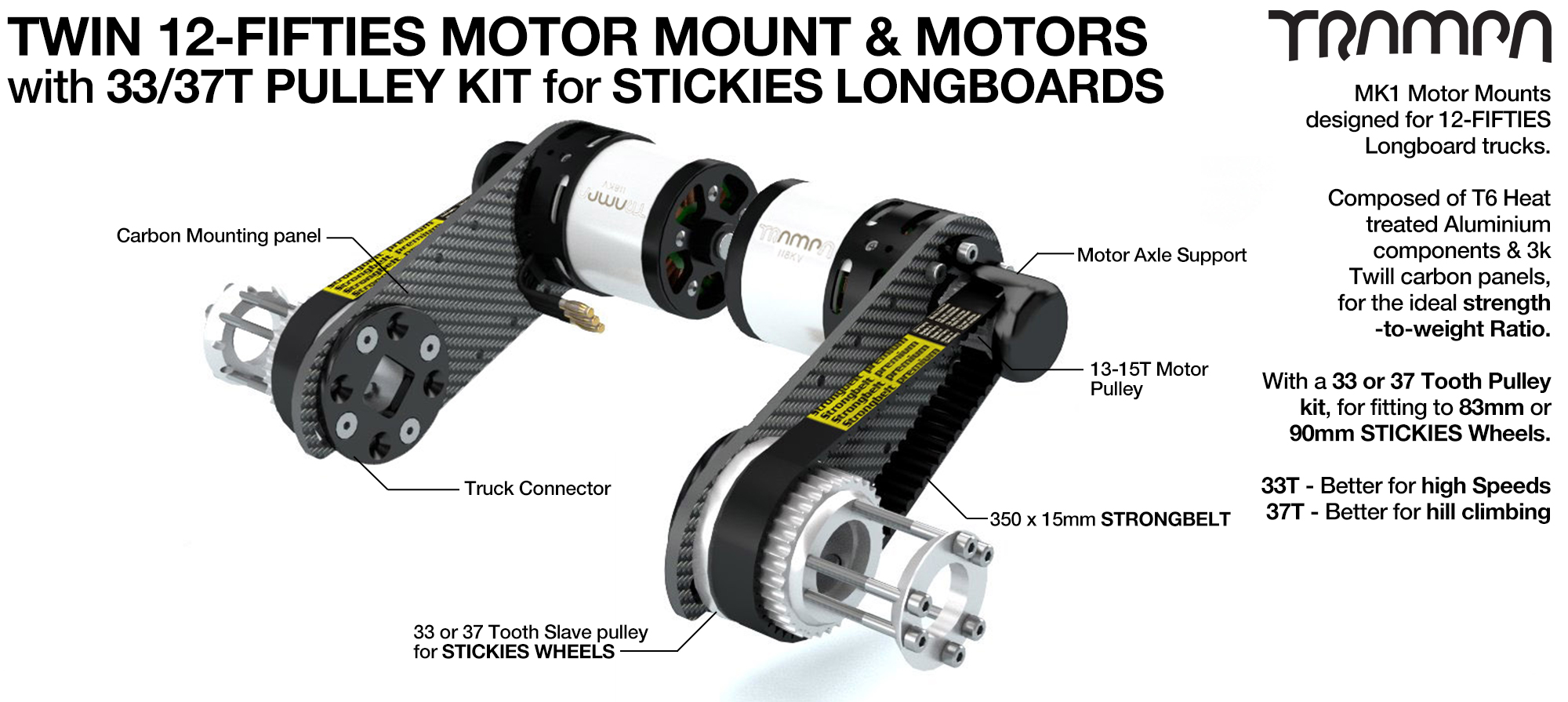 12Fifties CARBON Fibre Motormount Panel with Custom Motor & Pulley Kit for STICKIES Longboard Wheels TWIN