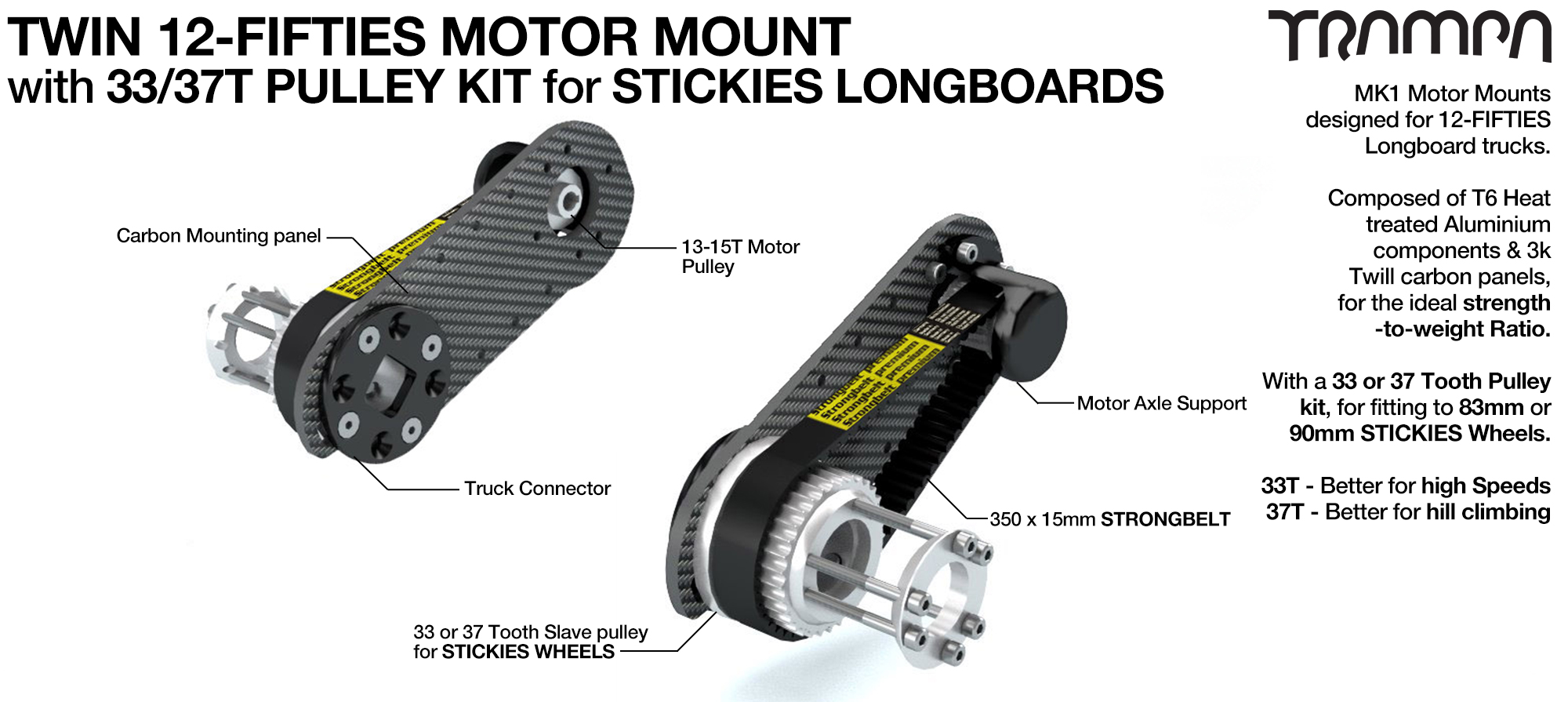 12Fifties CARBON Fibre Motor mount Panel with Motor Axle support & Pulley Kit for STICKIES Longboard Wheels