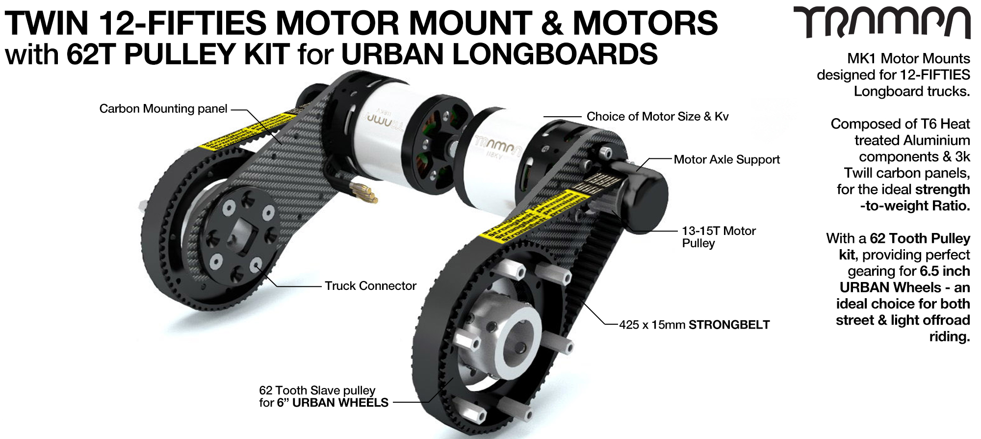 12Fifties CARBON Fibre Motormount Panel with Custom Motor, Motor Axle support & 62 Tooth Pulley Kit for URBAN Wheels TWIN