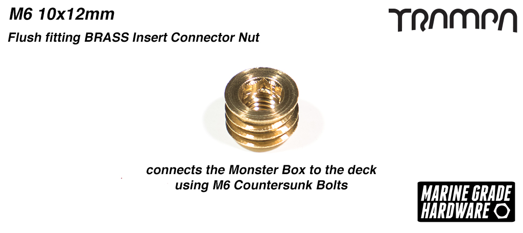 M6 10x12mm Flush fitting Threaded BRASS Insert Connector Nut connects the Monster Box to the deck using M6 Countersunk Bolts