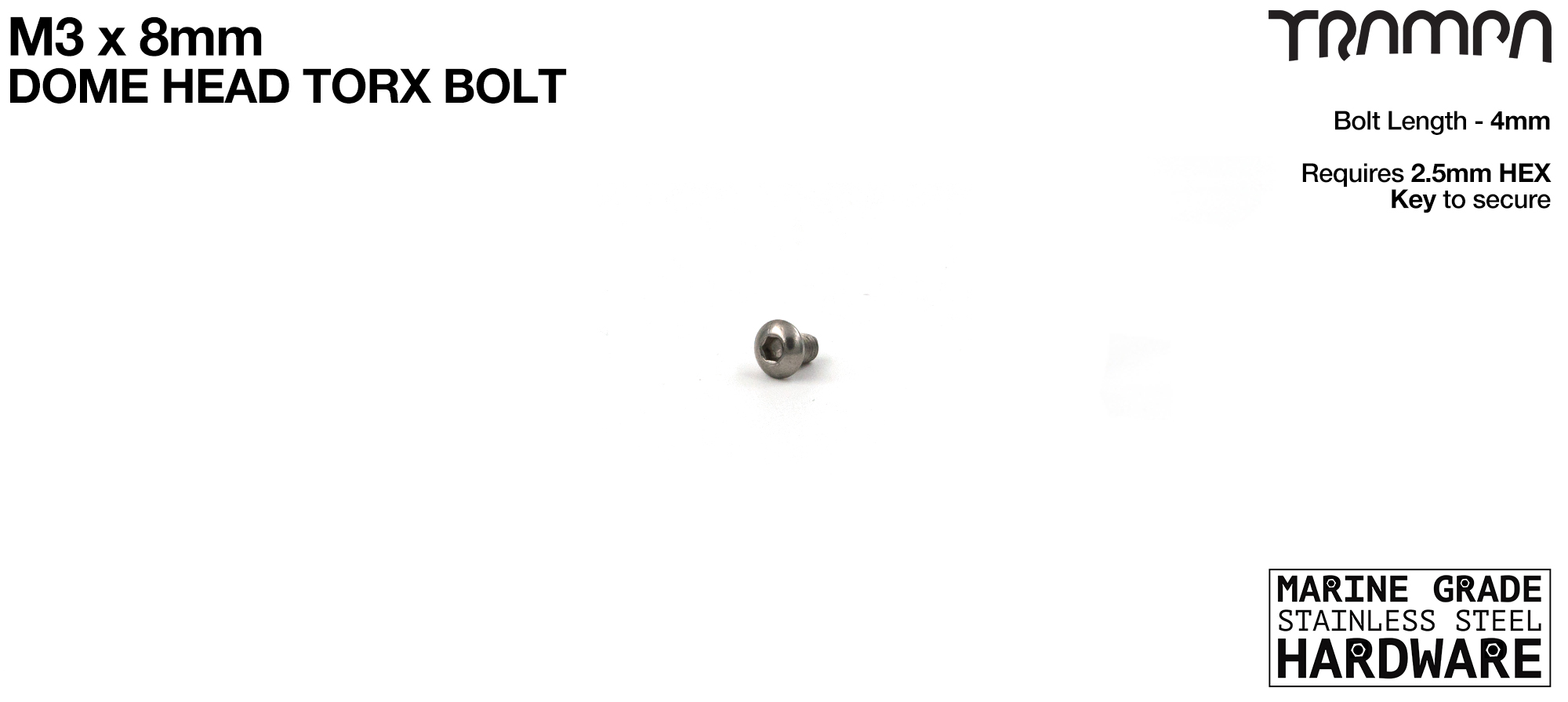 M3 x 4mm Dome Headed Head Bolt DIN6912 Marine Grade Stainless Steel