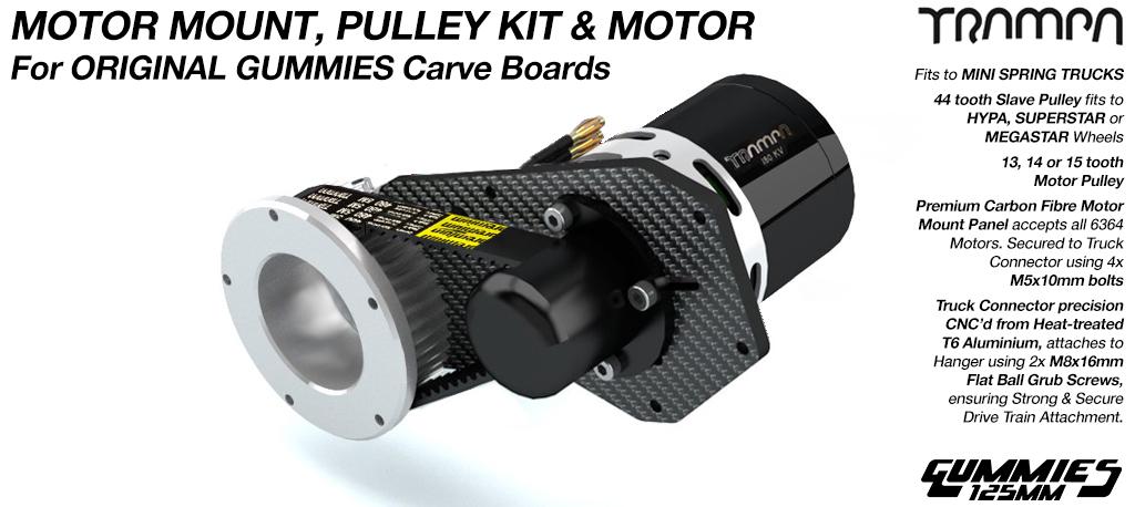 SINGLE MOTOR Original GUMMIES Carver complete Motormount & Pulley Kit