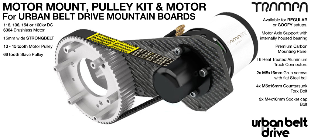 URBAN MOUNTAINBOARD Motormount with Custom TRAMPA Motor & 66 Tooth URBAN MOUNTAINBOARD Pulley Kit - Single Motor