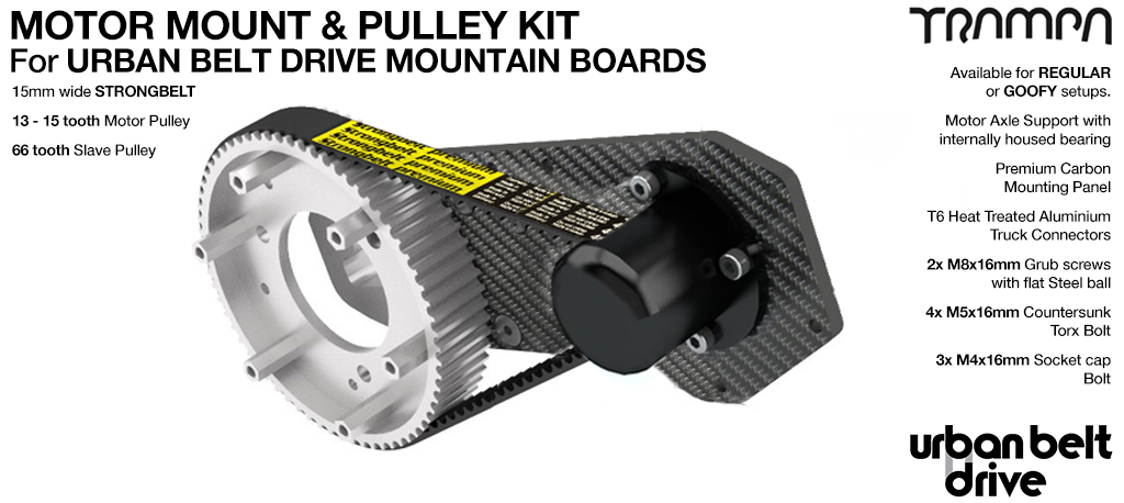 URBAN MOUNTAINBOARD Motormount with Axle Shaft Support & 66 tooth Pulley kit - SINGLE