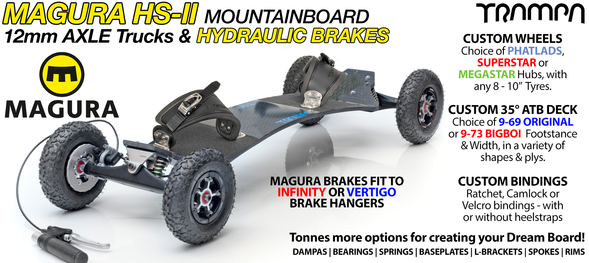 35° TRAMPA BrakeBoard Using MAGURA Brakes on VERTIGO Trucks SUPERSTAR wheels