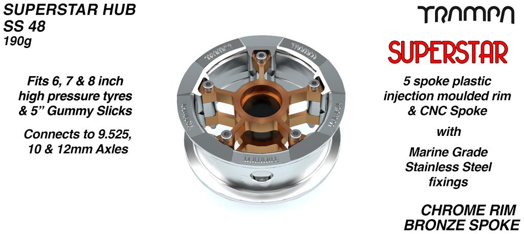 Superstar Hub - PIMP Chrome Rim with Bronze anodised spokes