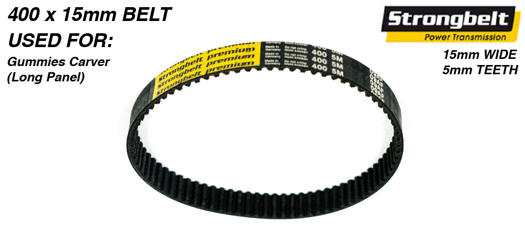 400mm long x 15mm wide High Torque Drive (HTD) 5M (5mm Tooth Space) High Power (HP)  STRONGBELT