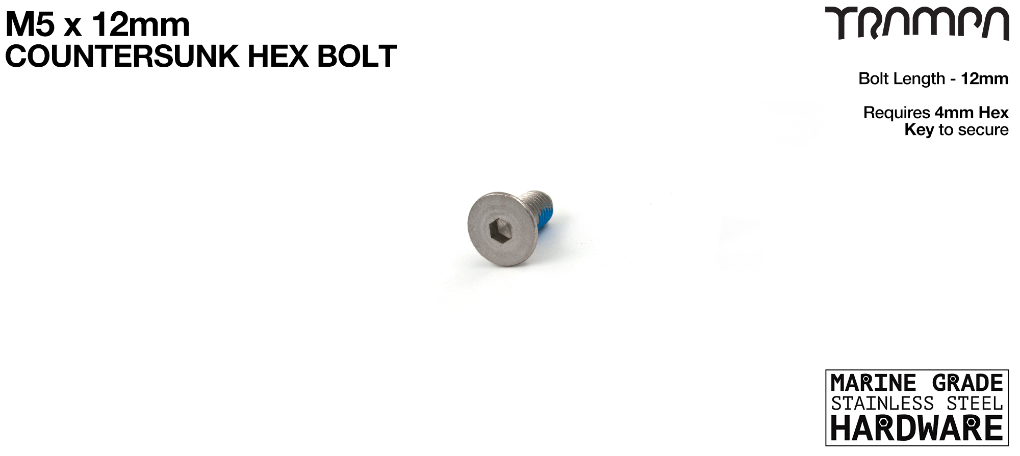 M5 x 12mm Countersunk Bolt - Marine Grade Stainless steel with locking paste