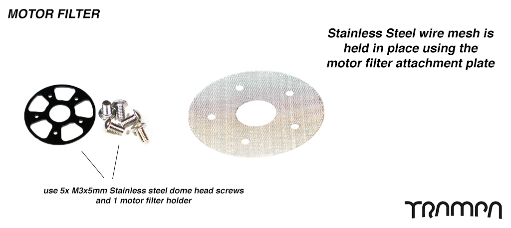 Motor Filter - Stainless Steel wire mesh Holds in place using the motor filter attchment plate