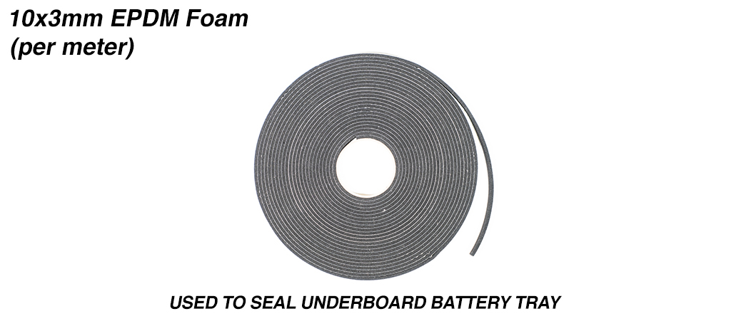 10x3mm EPDM Foam Used to seal the underboard Battery Tray & priced per meter