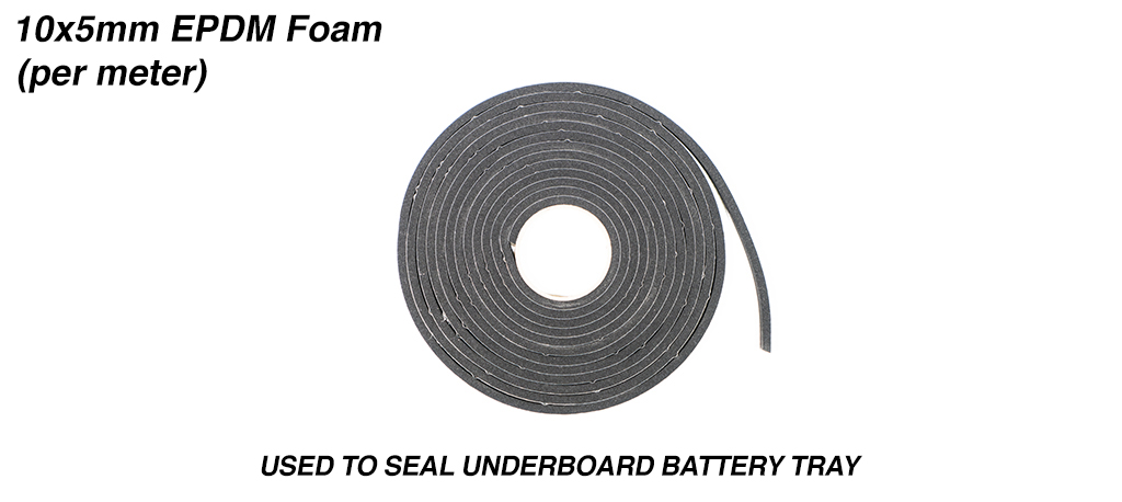 10x5mm EPDM Foam Used to seal the Underboard Battery Tray & priced per meter