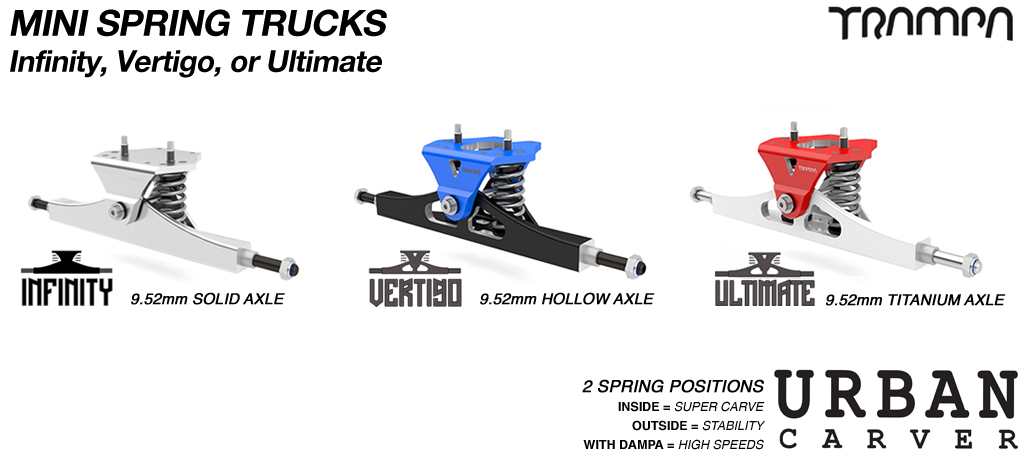 Mini SPRING TRAMPA TRUCKS - CNC FORGED Channel Hanger with 9.525mm Axle with precision CNC Baseplate