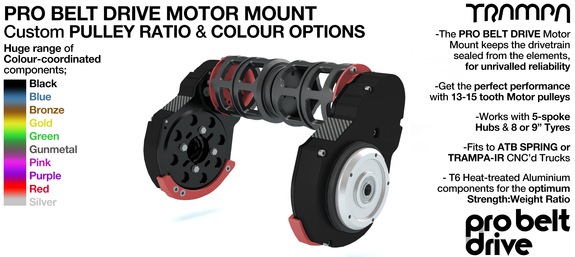 Mountainboard PRO Belt Drive TWIN Motor Mounts with Motor Protection housings - NO Motors