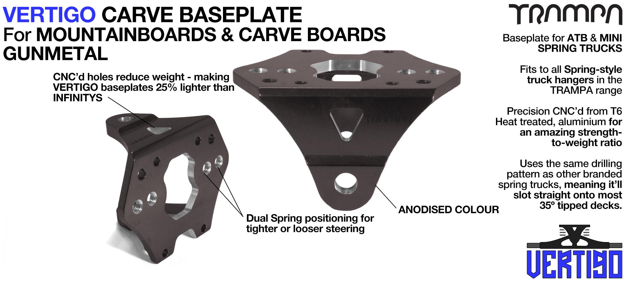 VERTIGO Baseplate GUNMETAL - T6 Aluminum Anodised & CNC lightened - Black logo  Carve