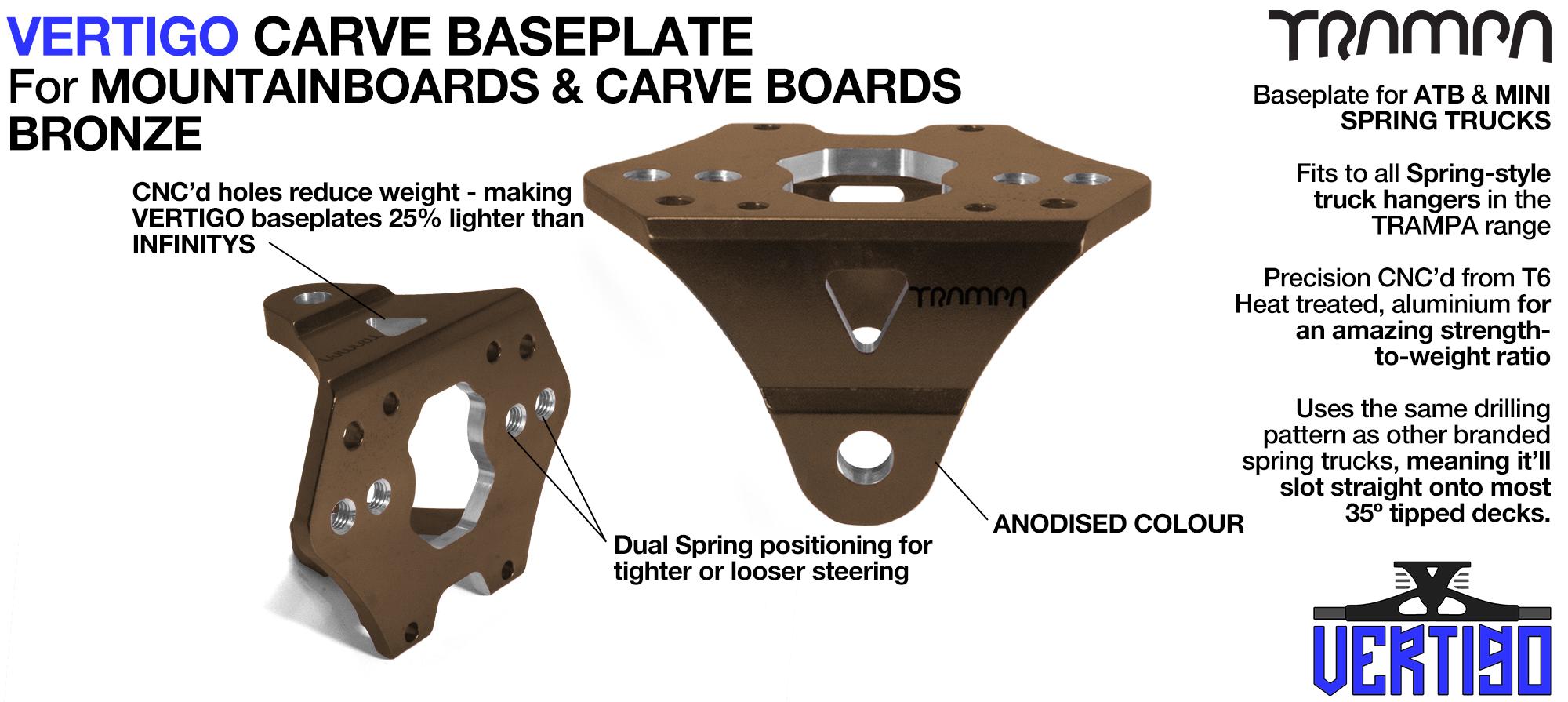 VERTIGO Baseplate BRONZE - T6 Aluminum Anodised & CNC lightened - Black logo  Carve